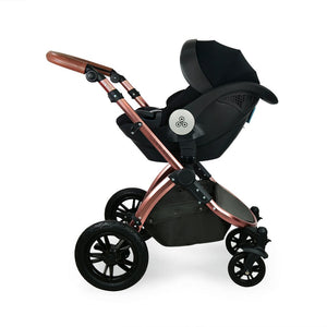 Stomp V4 I-Size Travel System with Mercury Car Seat & Isofix Base - Woodland / Bronze
