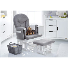 Load image into Gallery viewer, Reclining Glider Chair And Stool - White With Grey Cushions