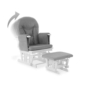 Reclining Glider Chair And Stool - White With Grey Cushions
