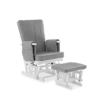 Load image into Gallery viewer, Deluxe Reclining Glider Chair And Stool - White With Grey Cushions