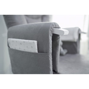 Deluxe Reclining Glider Chair And Stool - White With Grey Cushions