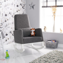 Load image into Gallery viewer, High Back Rocking Chair - White With Grey Cushions