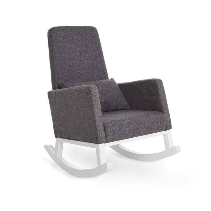 High Back Rocking Chair - White With Grey Cushions