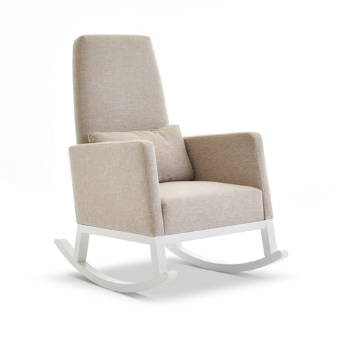 High Back Rocking Chair - White With Sand Cushions