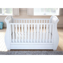 Load image into Gallery viewer, Babymore Bel Sleigh Drop Side Cot Bed - White