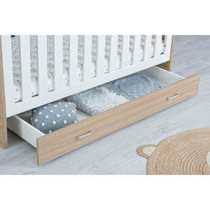Babymore Luno Veni Cot Bed Drawer - Oak. Furniture for a nursery