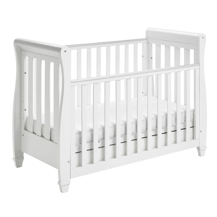 Babymore Eva Drop Side Sleigh Cot Bed - White