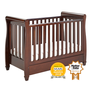 Babymore Eva Drop Side Sleigh Cot Bed - Brown