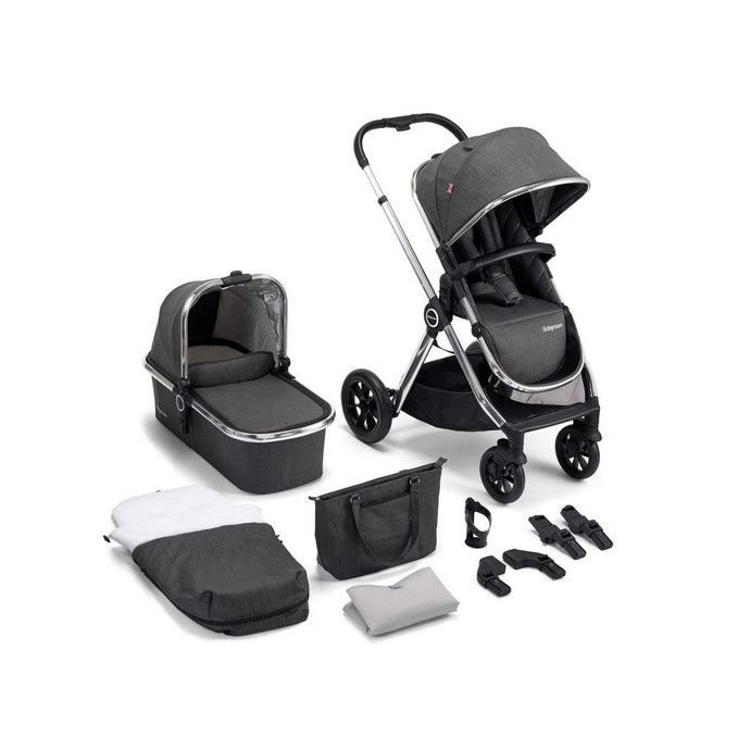 MeMore Pram & Pushchair 11 Piece - Chrome Slate