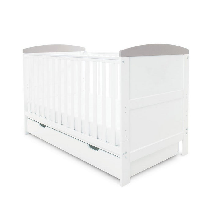 Ickle Bubba Coleby Classic Cot Bed & Under Drawer - White With Grey Trim