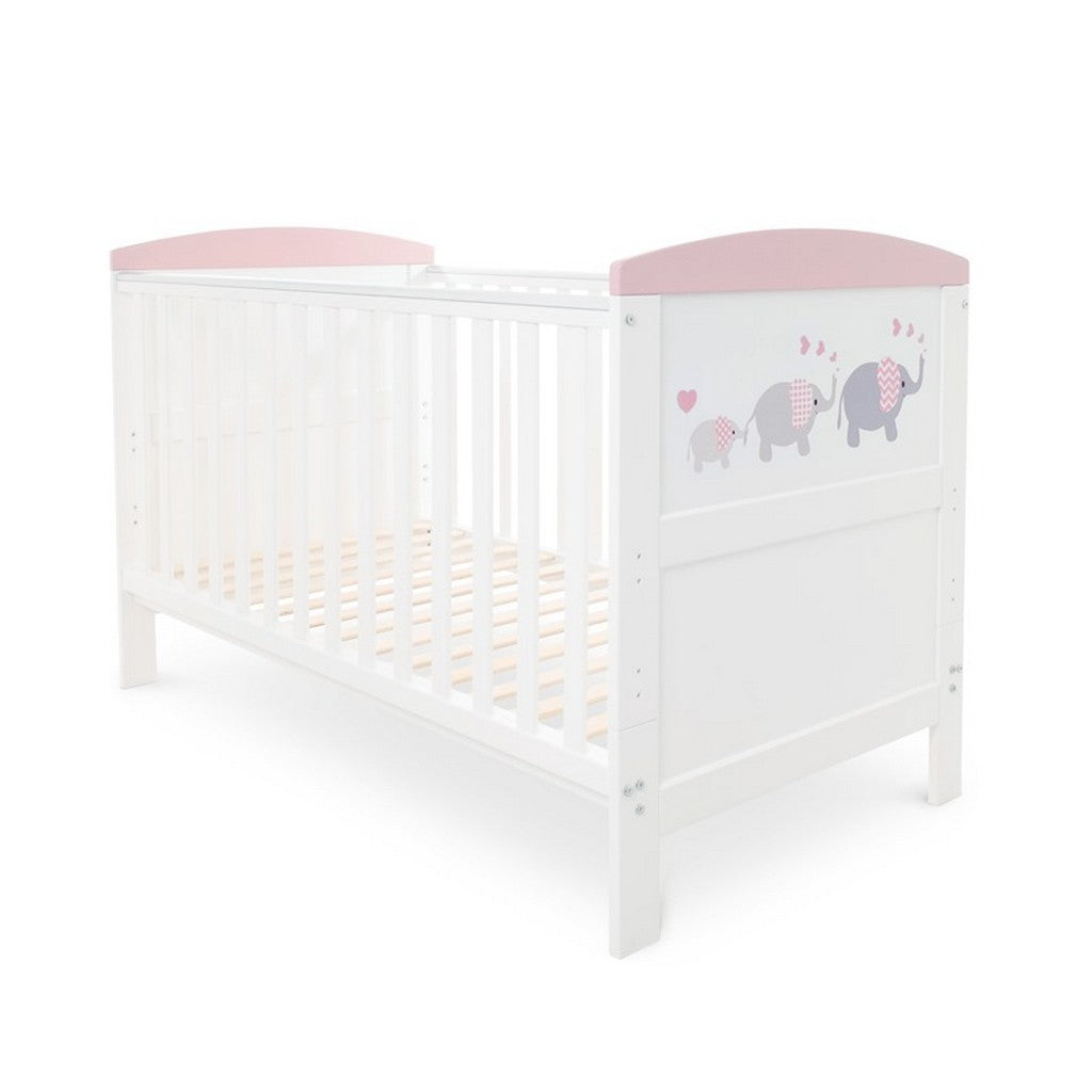 Ickle Bubba Coleby Style Cot Bed - Elephant Love Pink