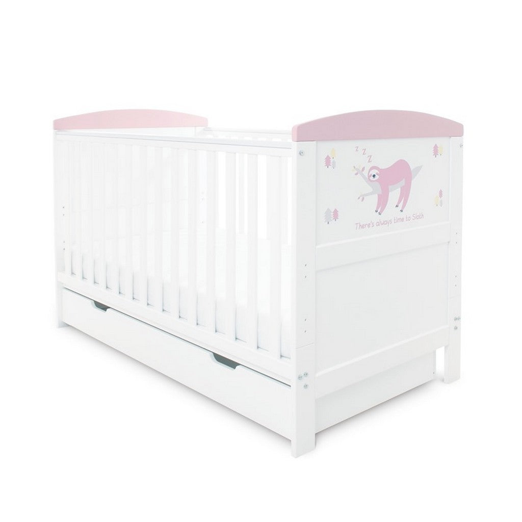 Ickle Bubba Coleby Style Cot Bed with Under Drawer - Sloth Pink