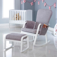 Load image into Gallery viewer, Ickle Bubba Dursley Rocking Chair and Stool - Pearl Grey