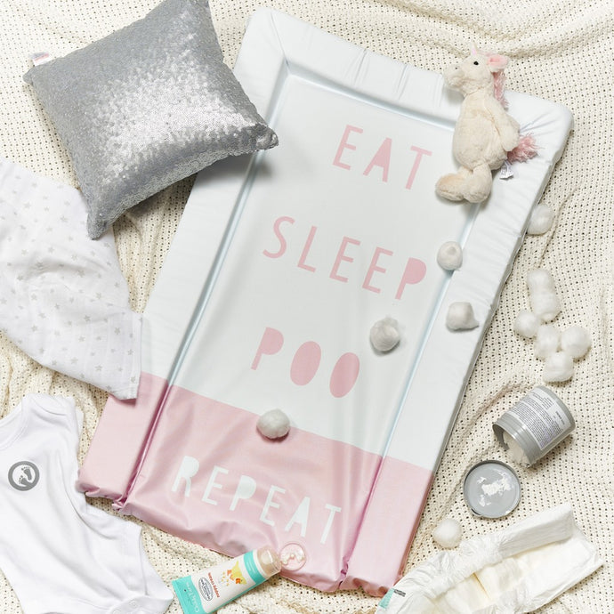 Obaby Changing Mat - Eat, Sleep, Repeat Pink