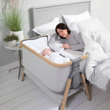 Load image into Gallery viewer, Tutti Bambini Cozee Bedside Crib - Oak & Sterling Silver