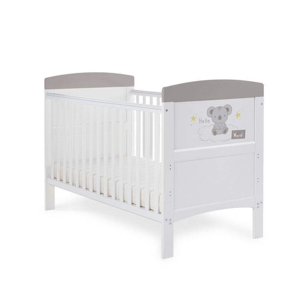 Obaby Grace Inspire Cot Bed - Hello World Koala Grey