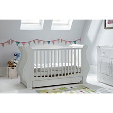 Load image into Gallery viewer, Tutti Bambini Louis 3 in 1 Deluxe Sleigh Cot Bed - White