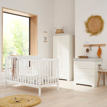 Load image into Gallery viewer, Tutti Bambini Malmo Cot Bed (White) With Rio Furniture 3 Piece Set - Dove Grey/White