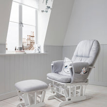 Load image into Gallery viewer, Tutti Bambini Reclining Glider Chair & Stool - White With Grey Cushions