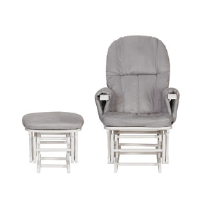 Tutti Bambini Reclining Glider Chair & Stool - White With Grey Cushions