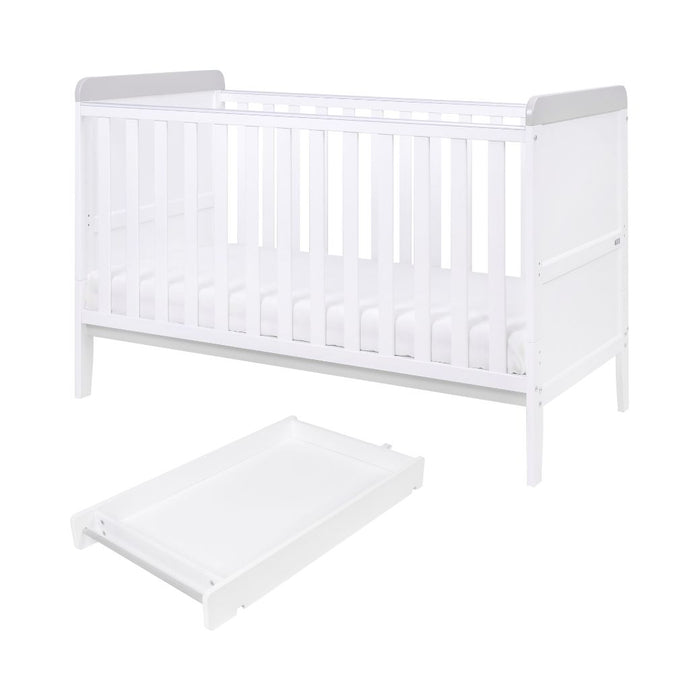 Tutti Bambini Rio Cot Bed With Cot Top Changer & Mattress - White/Dove Grey