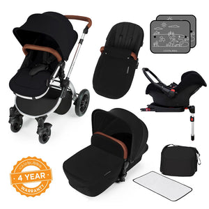 Stomp V3 Travel System with Galaxy Car Seat & Isofix Base - Silver / Black