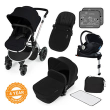 Load image into Gallery viewer, Stomp V3 I-Size Travel System with Mercury Car Seat & Isofix Base - Silver / Black