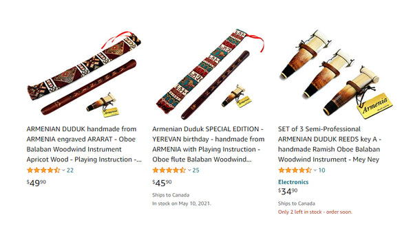 Typical souvenir duduks from online marketplaces