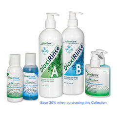 DioxiCare Collection - DioxiRinse Mouthwash (32oz) and (6oz) Travel Size, and DioxiBrite Toothpaste (6.4oz)