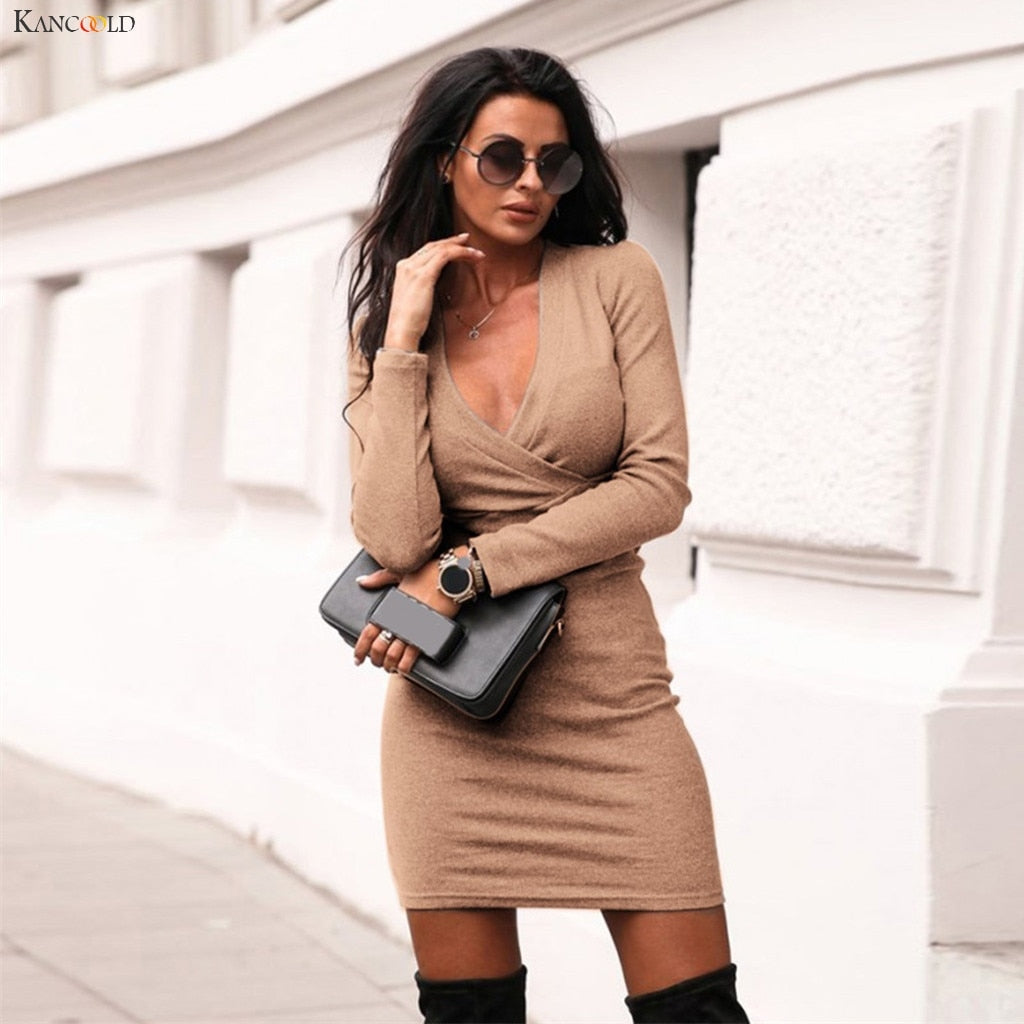 Wrap Solid Slim Mini Sheath Dress