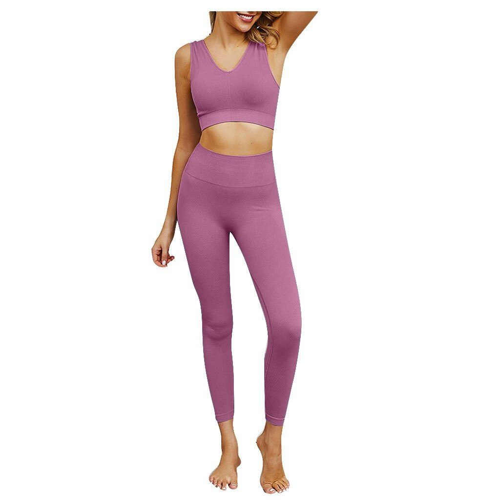 High Waist Stretchy Slim Fit Pants and Fitness Top Set