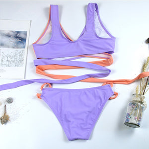 Sling Cross Strap Colorblock Swimsuit