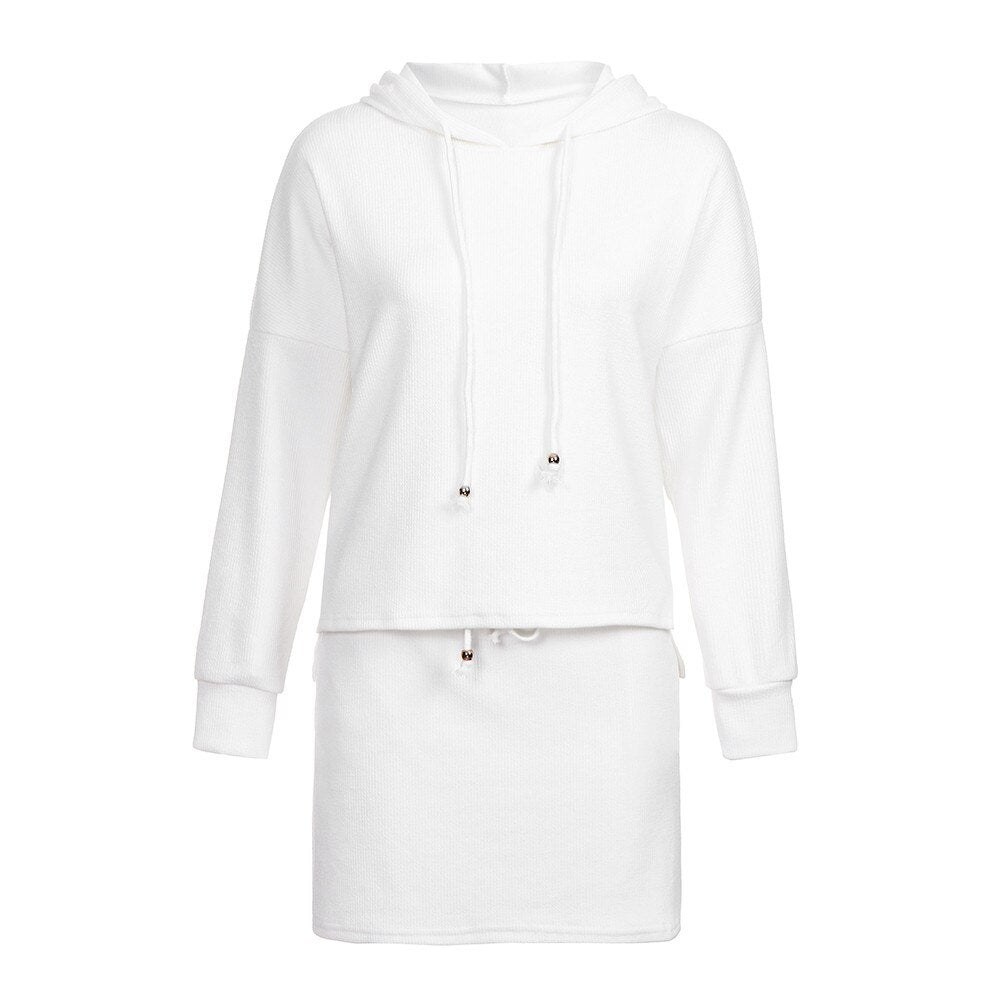 Long Sleeve Hooded Pocket Sweatshirt + Mini Skirt Set