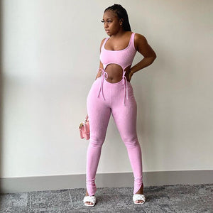 Fitness Knit Rib Lace Up Crop top+Split Hem Pants