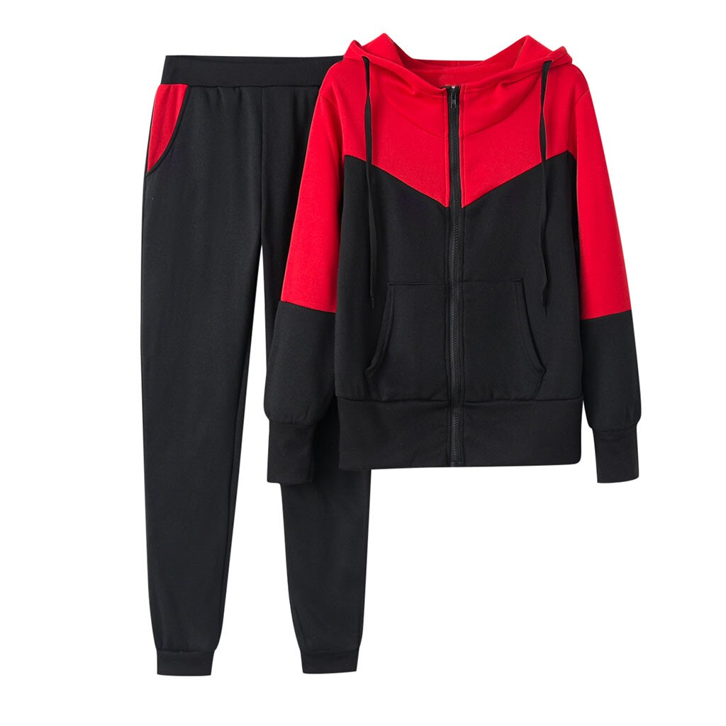 Splice Zipper Hooded Top and  Long Pants Set
