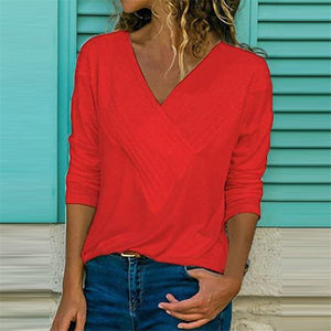 Grooved Neck Detailing Blouse