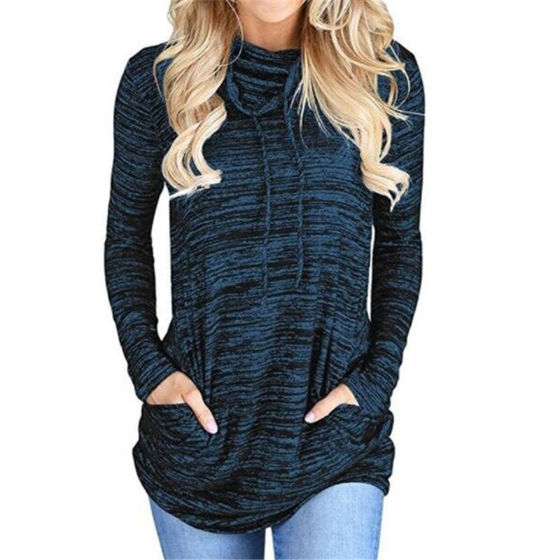 Heathered Casual Turtleneck Top