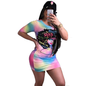 Rainbow Styled Mini Dress