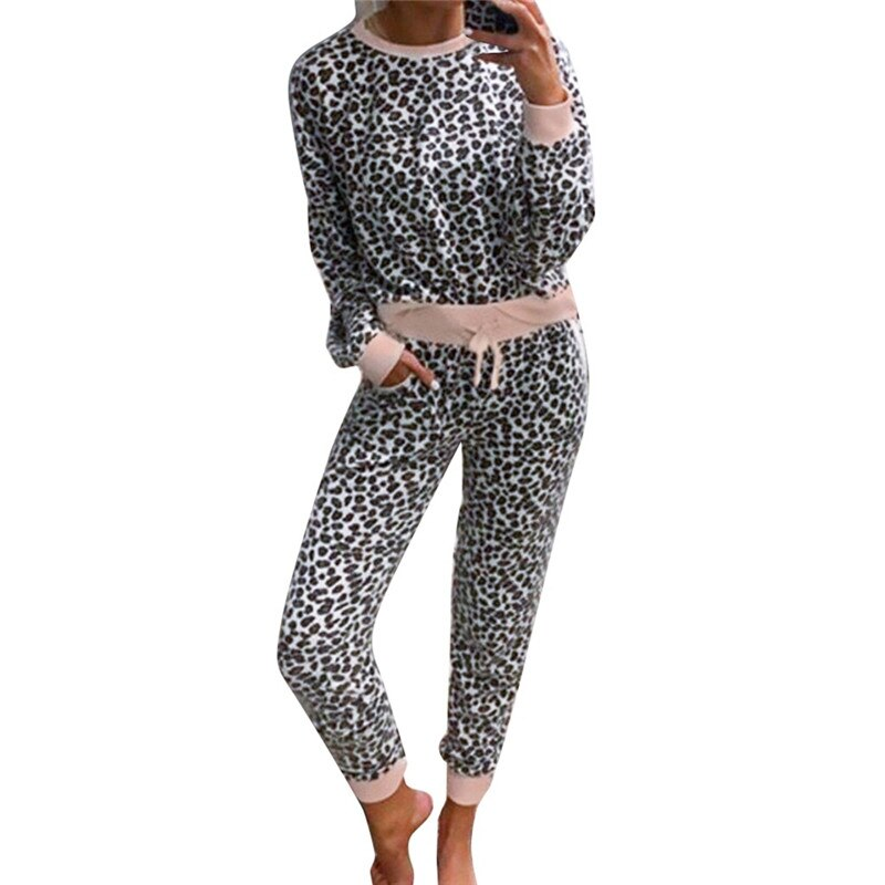 Leopard Long Sleeve Top and Pocket Pants Sets