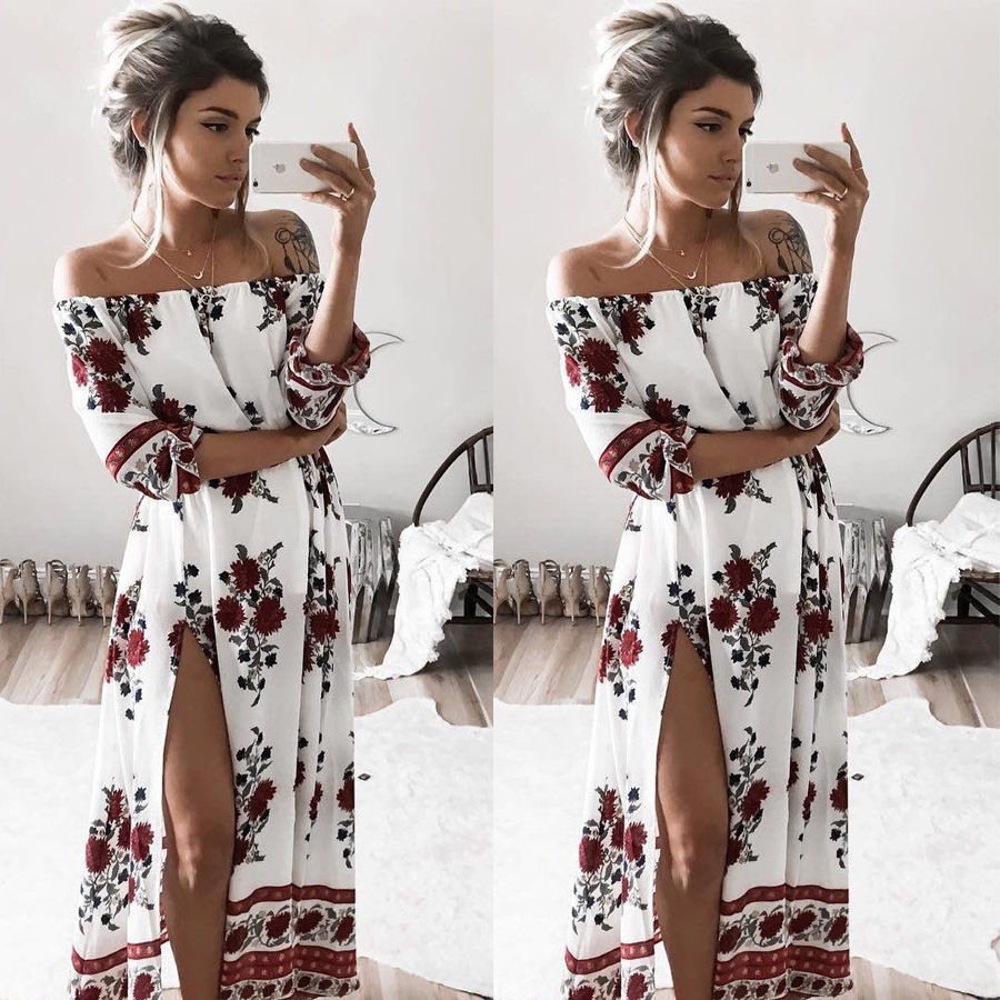 Vintage Floral Printed Long Maxi Dress