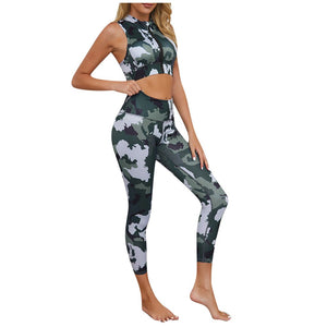Green Camouflage Zipper Crop Top and  High Waist Pants