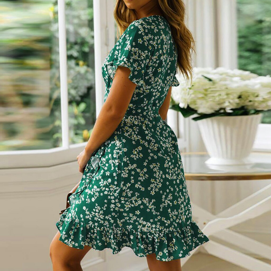 Floral Print Boho Short Sleeve Mini Dress