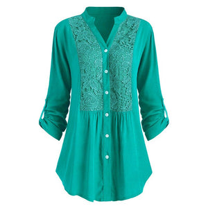 Solid Lace Panel Button-up Shirt