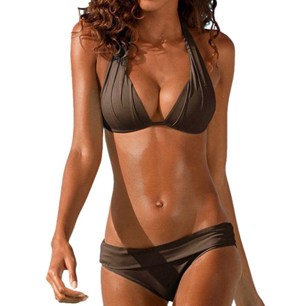 Ruched Push Up Padded Halter Swimsuit