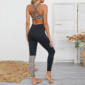 Leopard Letter Print Patchwork Crop Top and High Waist Pants