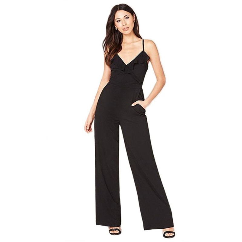 Spaghetti Straps Pockets Sleeveless Jumpsuit