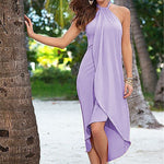 Casual Asymmetrical Sleeveless Halter Dress