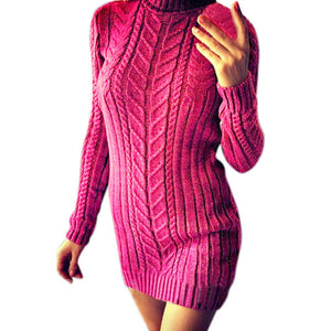 Warm Solid Knitting Turtleneck Sweater Dress