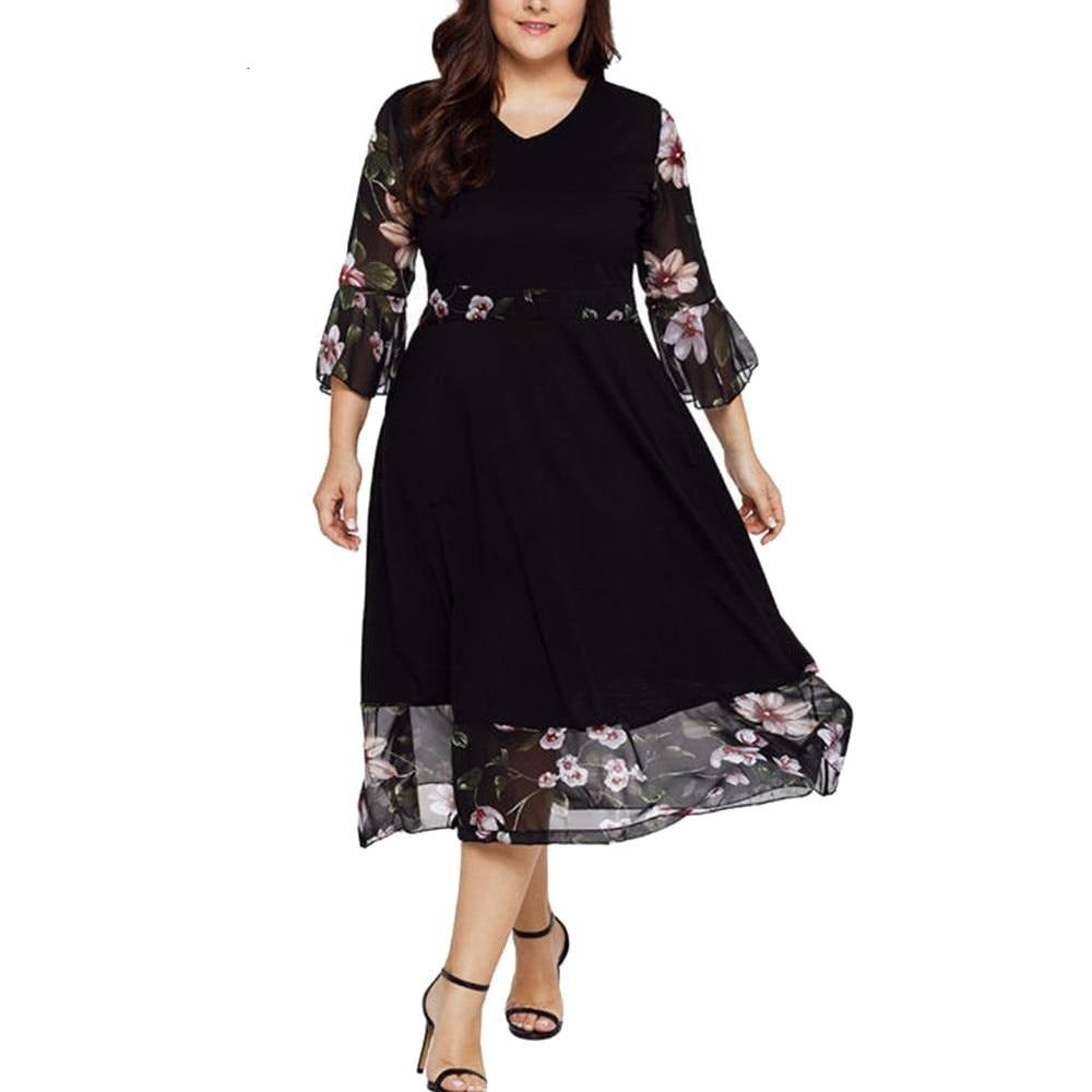 Wrap Chiffon Floral Plus Size Dress