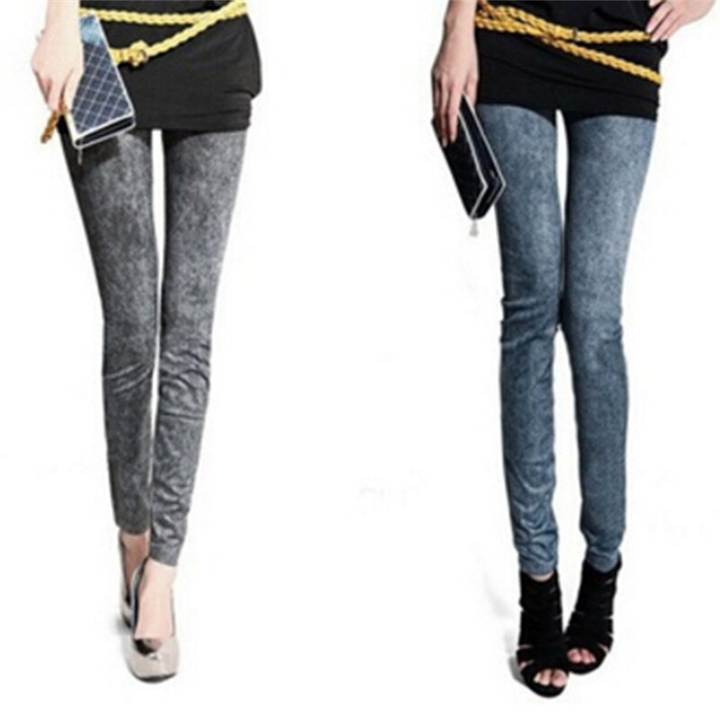 Denim Slim Leggings With Pockets